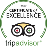 Certificate of Excellence Award from Trip Advisor
